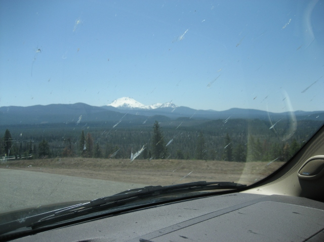 If you can see through the bug guts, that's Mt. Lassen. And yes, I'm driving AND taking photos.